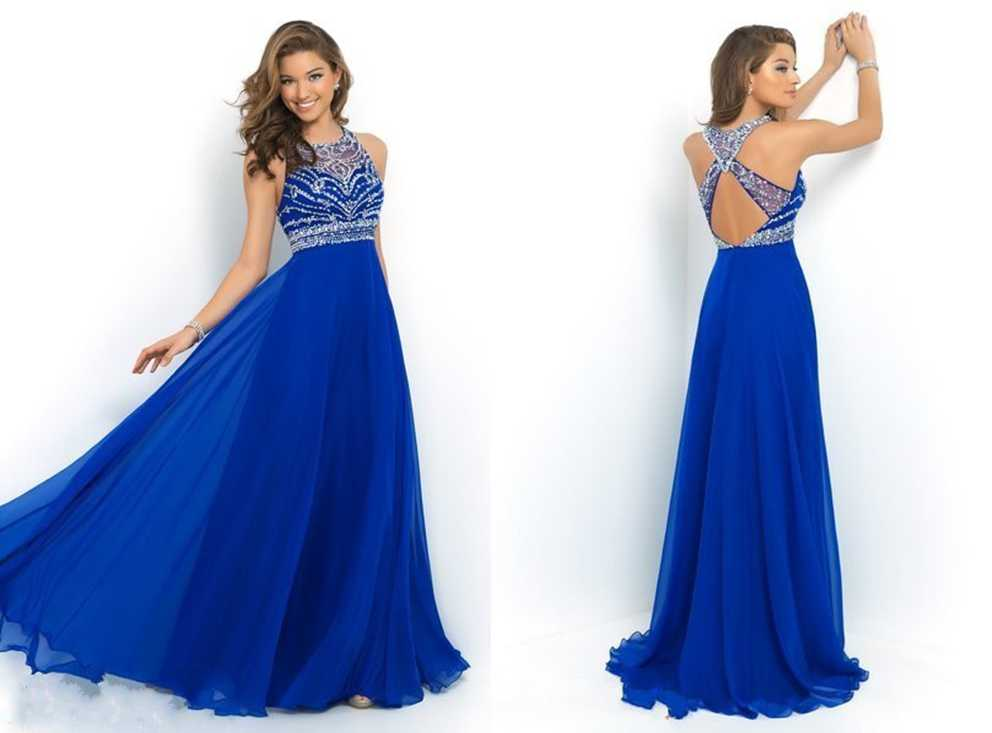 Elegant royal blue chiffon a line prom dress 2015 halter for Aline halter wedding dresses