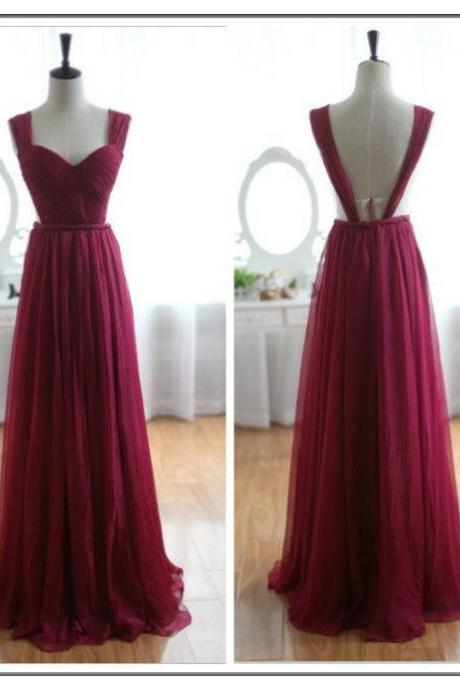 Elegant Sweetheart Backless Burgundy Chiffon Bridesmaid Dress, Burgundy Prom Gowns 2018 Formal dresses