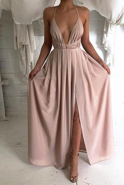Sexy Backless Prom Dress, Long Prom Dress, Simple Prom Dress, Cheap Prom Dress, Pink Prom Dress, Prom Dresses 2016